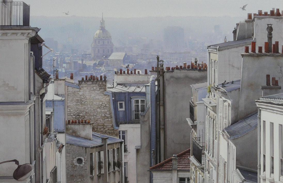 Peinture 10 pigeons et les toits de paris - Visite des toits de paris ...