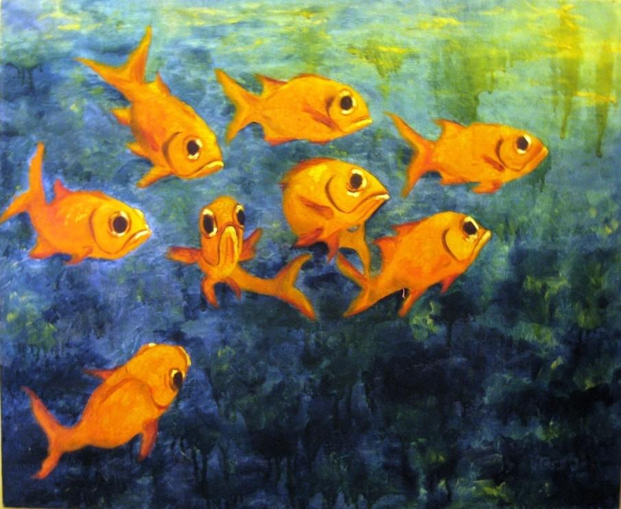 Peinture poissons rouges for Prix des poissons rouges