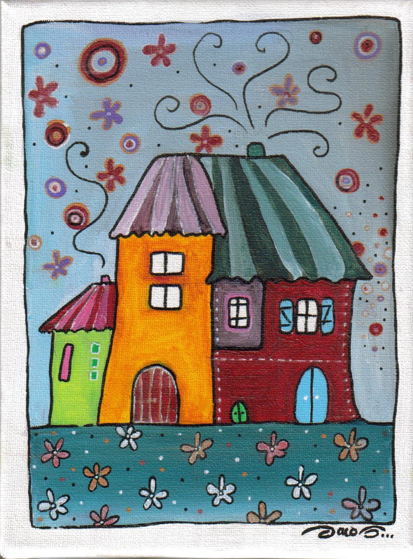 Peinture maisons sur fond bleu - Peinture de maison ...