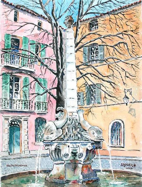 Peinture Fontaine Des  Dauphins  AixEnProvence