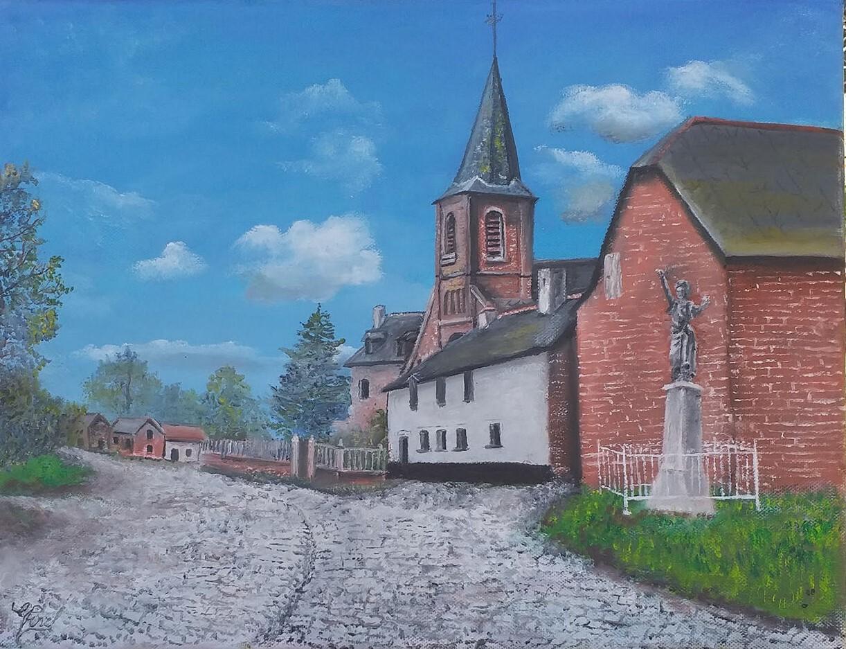 Le centre de mon village en été 1890
