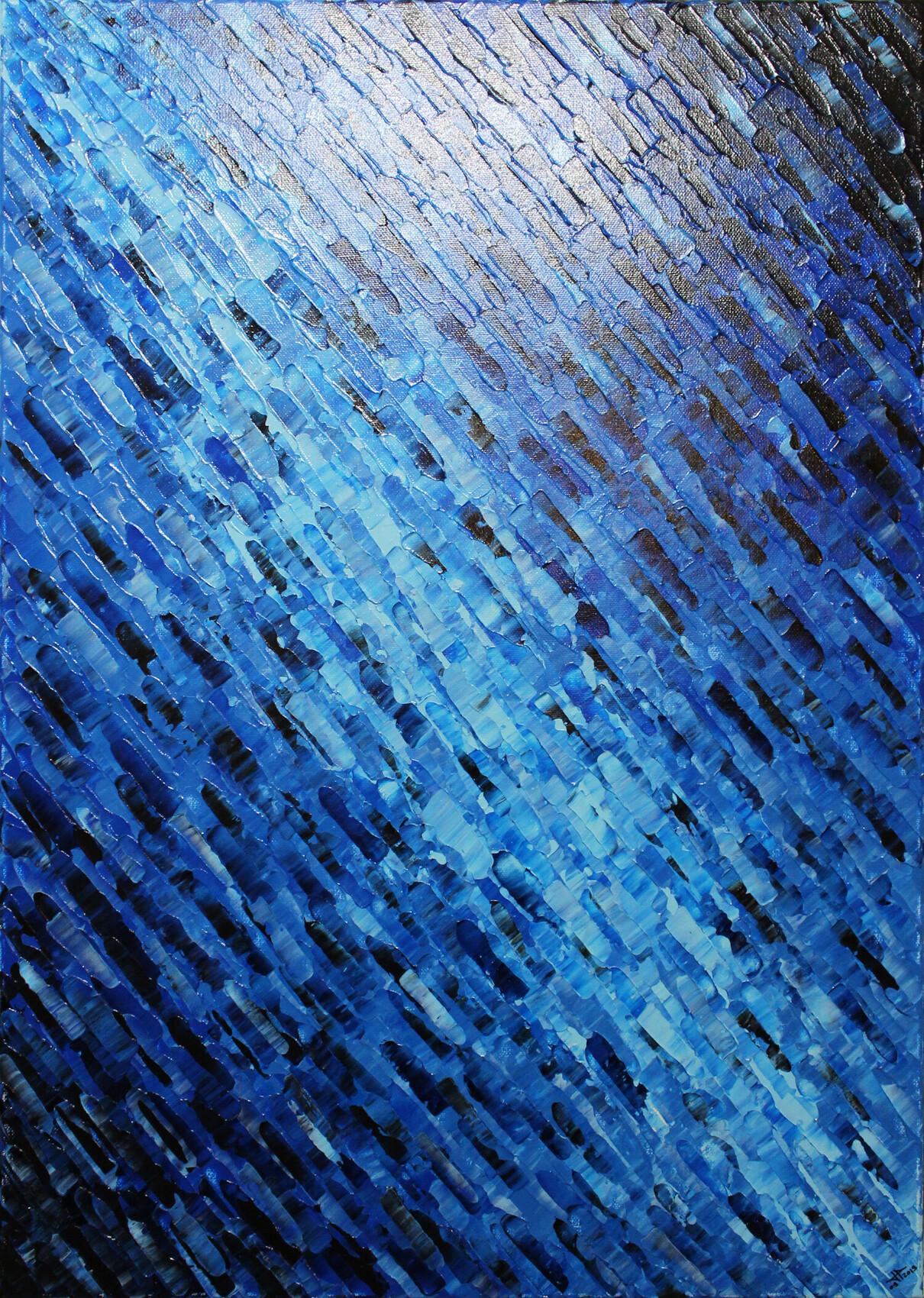 Tableau moderne : Texture couteau bleutée.
