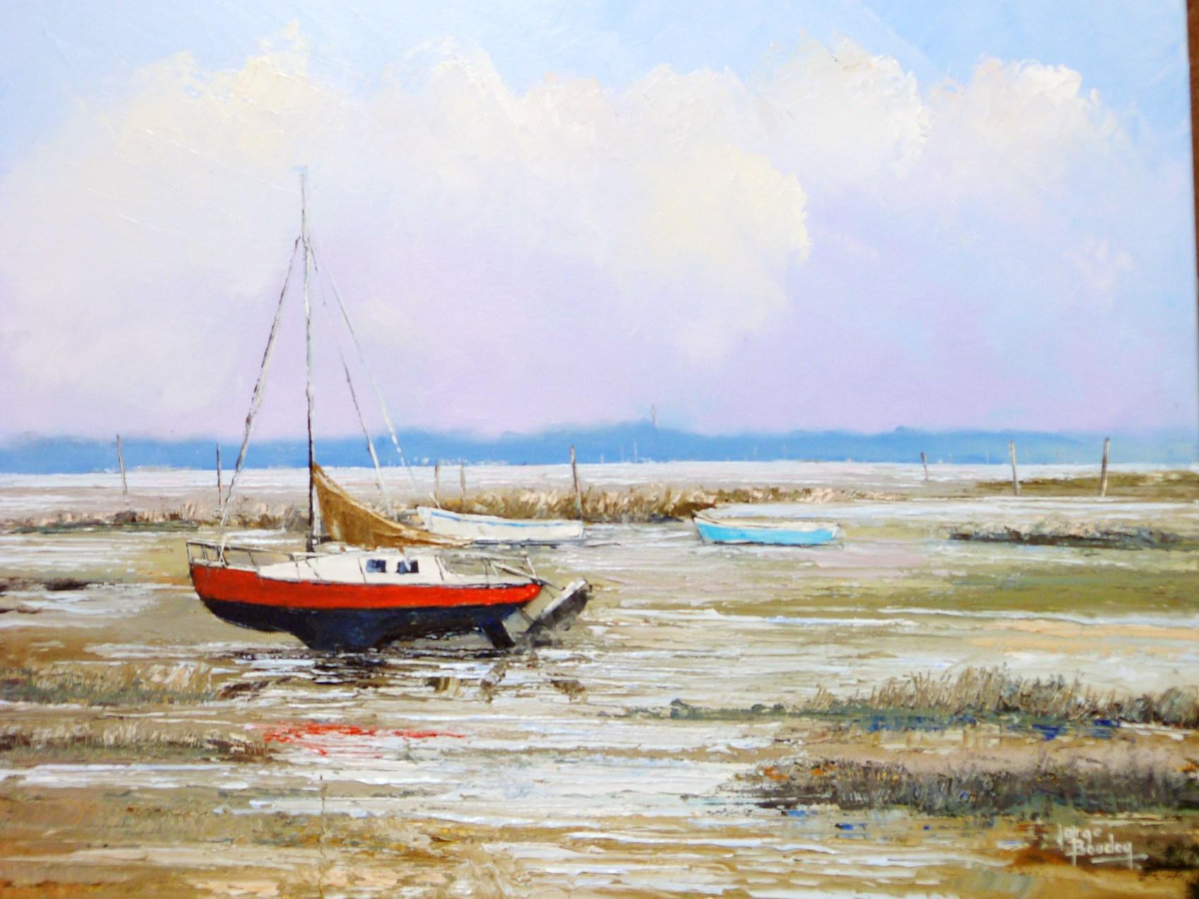 Peinture fond de bassin mar e basse huile sur toile for Toile a bassin