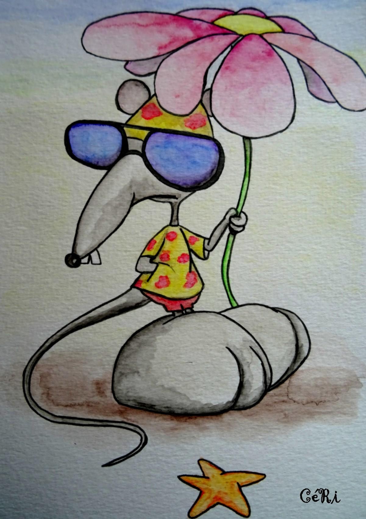 souris à la plage