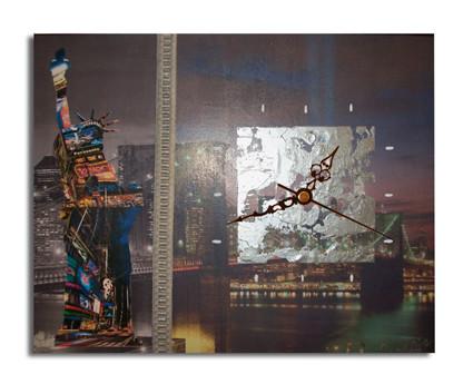 Peinture tableau horloge new york moderne art contemporain for Tableau moderne new york