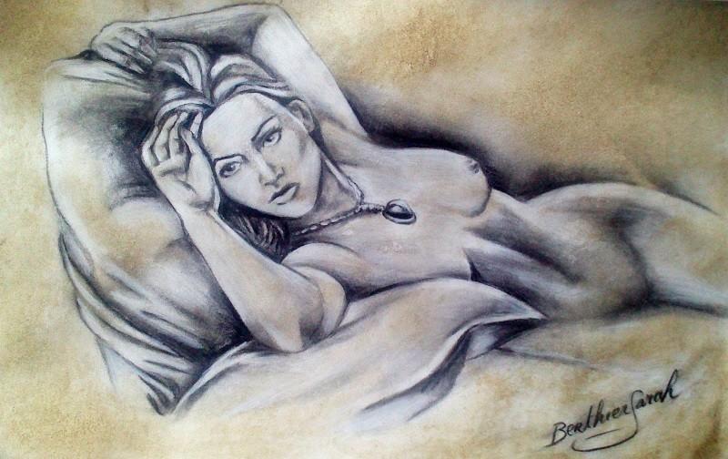 Wallpapers erotic art wallpapers naked woman pencil rose