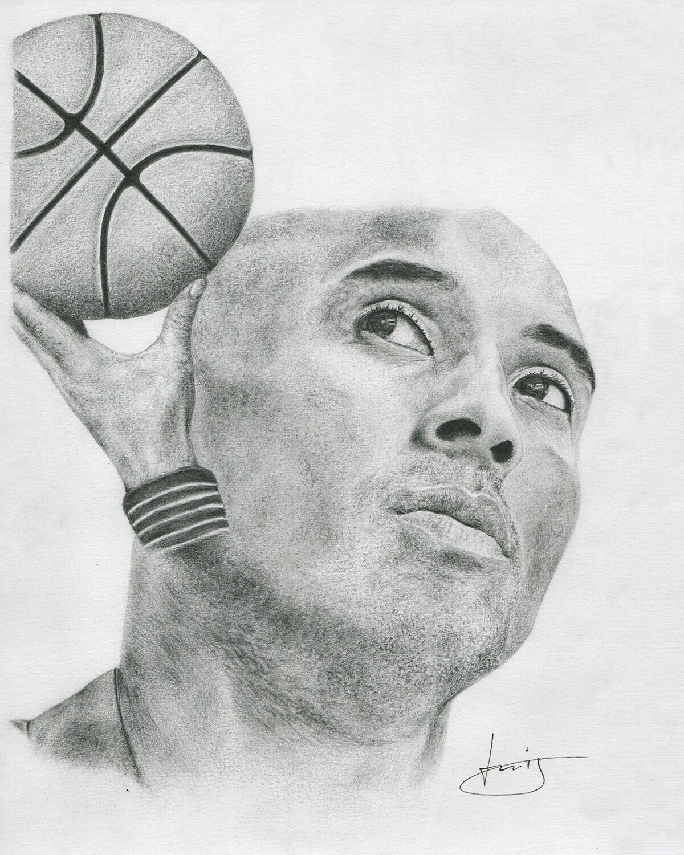 Dessin de portrait de Kobe Bryant, par PORTRAIT éMOI