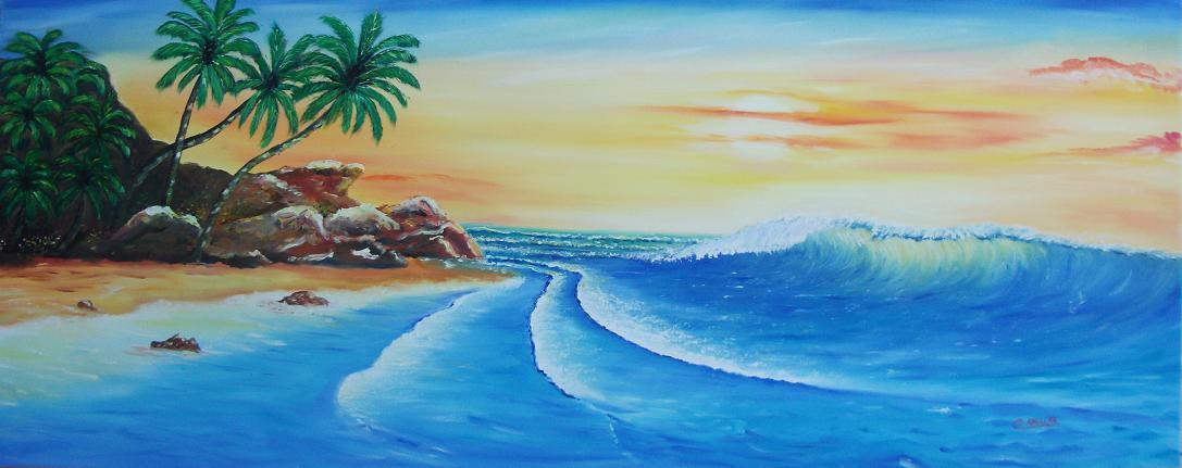 Peinture plage deserte