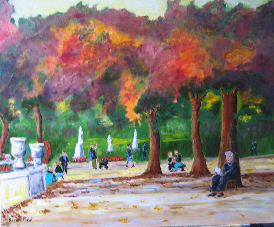 Peinture le jardin du luxembourg for Buvette des marionnettes du jardin du luxembourg