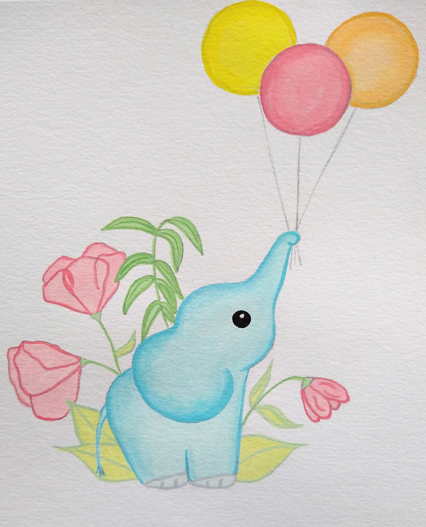 L'éléphant et ses ballons