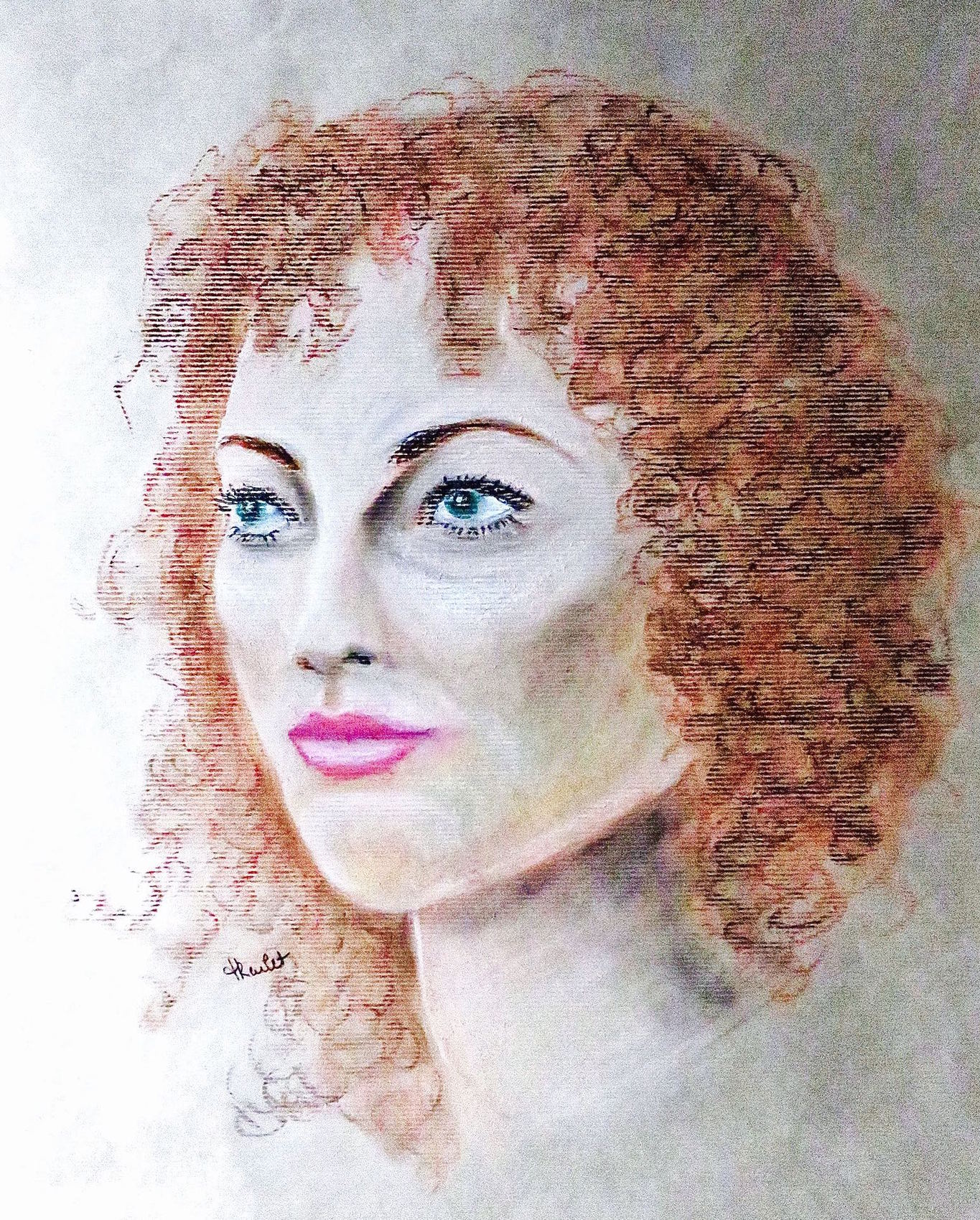 dessin portrait femme aux cheveux auburn / drawing : a woman with