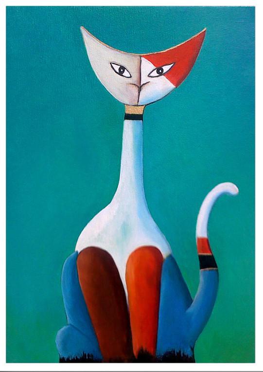 Peinture le chat - Tableau de chat moderne ...