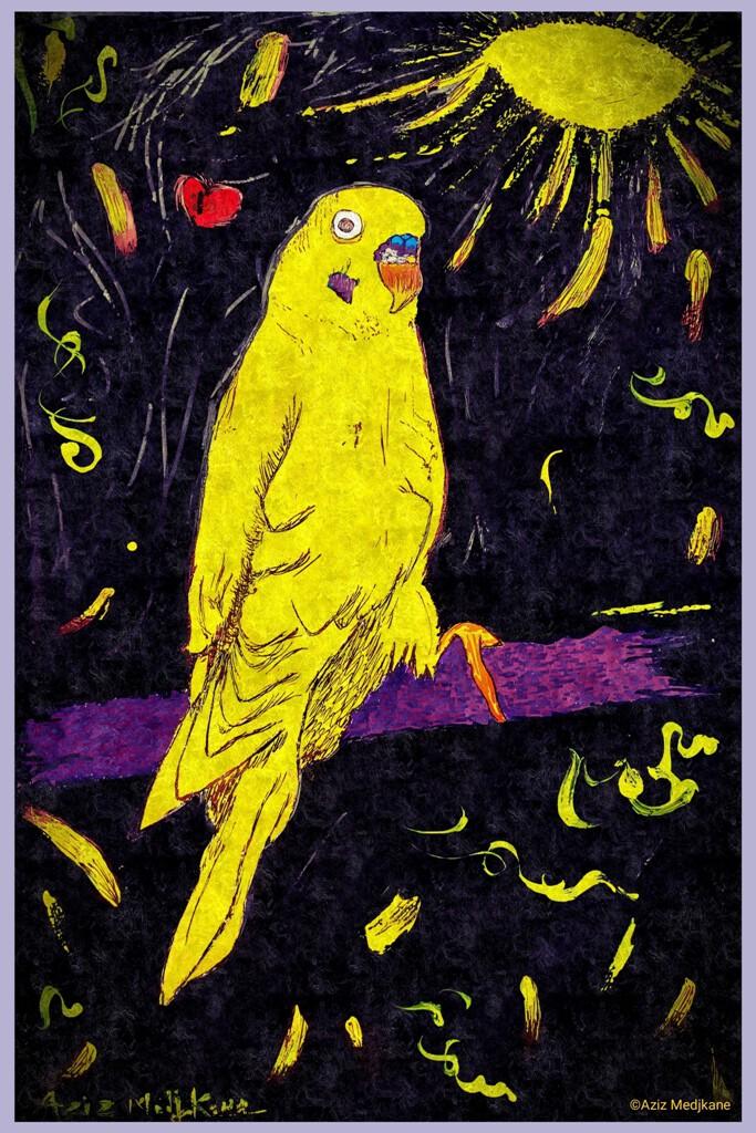 """"""" L'oiseau du soleil"""" 2021 ( Hommage à ma perruche tropicale)"""