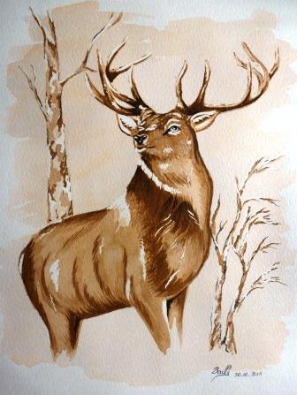 Peinture le cerf - Comment dessiner un cerf ...