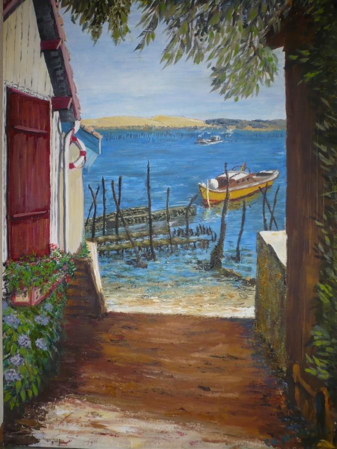 Peinture vue sur le bassin d 39 arcachon for Toile a bassin