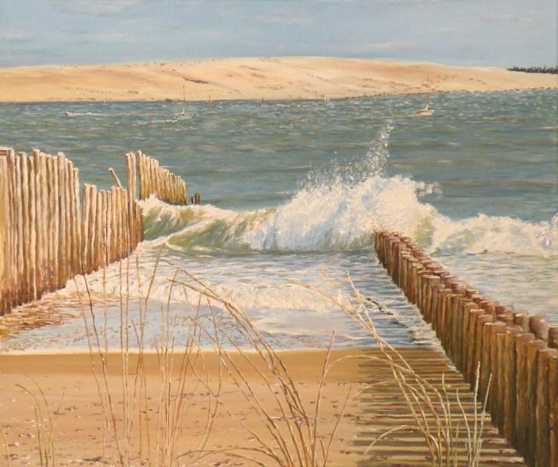 Peinture la dune du pyla depuis le cap ferret - Restaurant dune du pyla ...