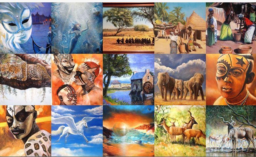 mosaique de tableaux réalisés