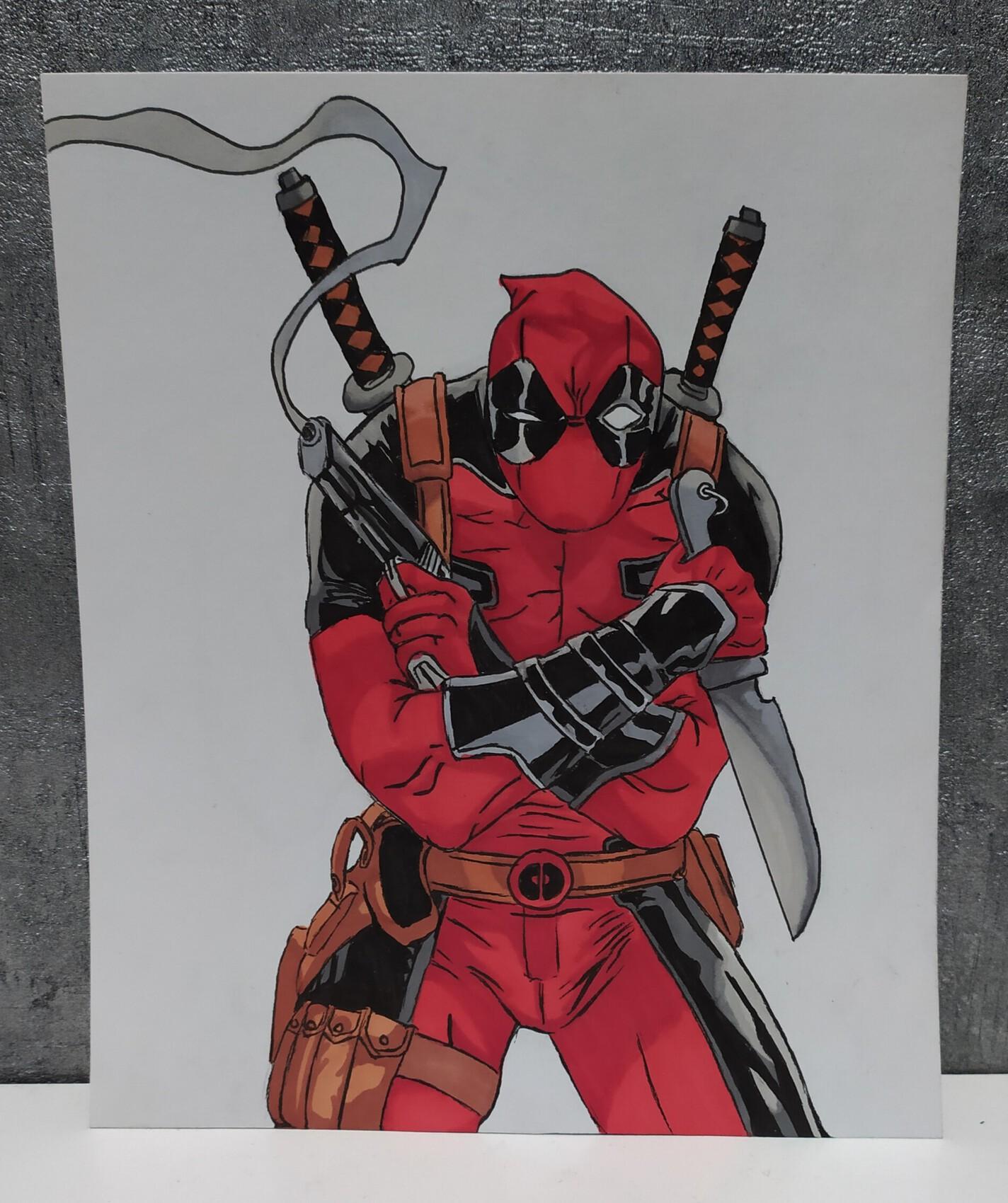 Dessin Deadpool comics drawing