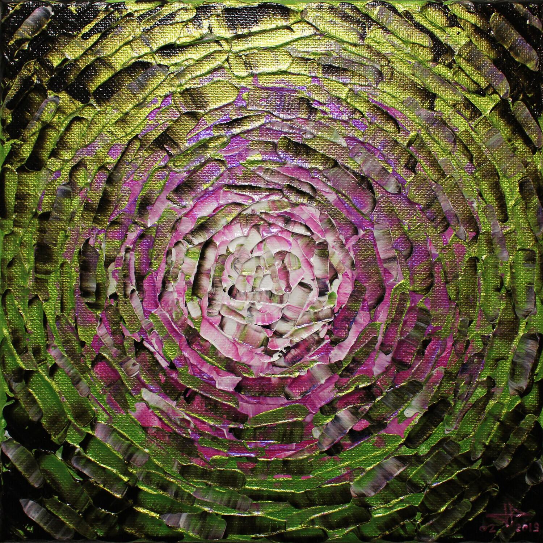 Peinture moderne : Petit éclat de lueur rose verte iridescente.