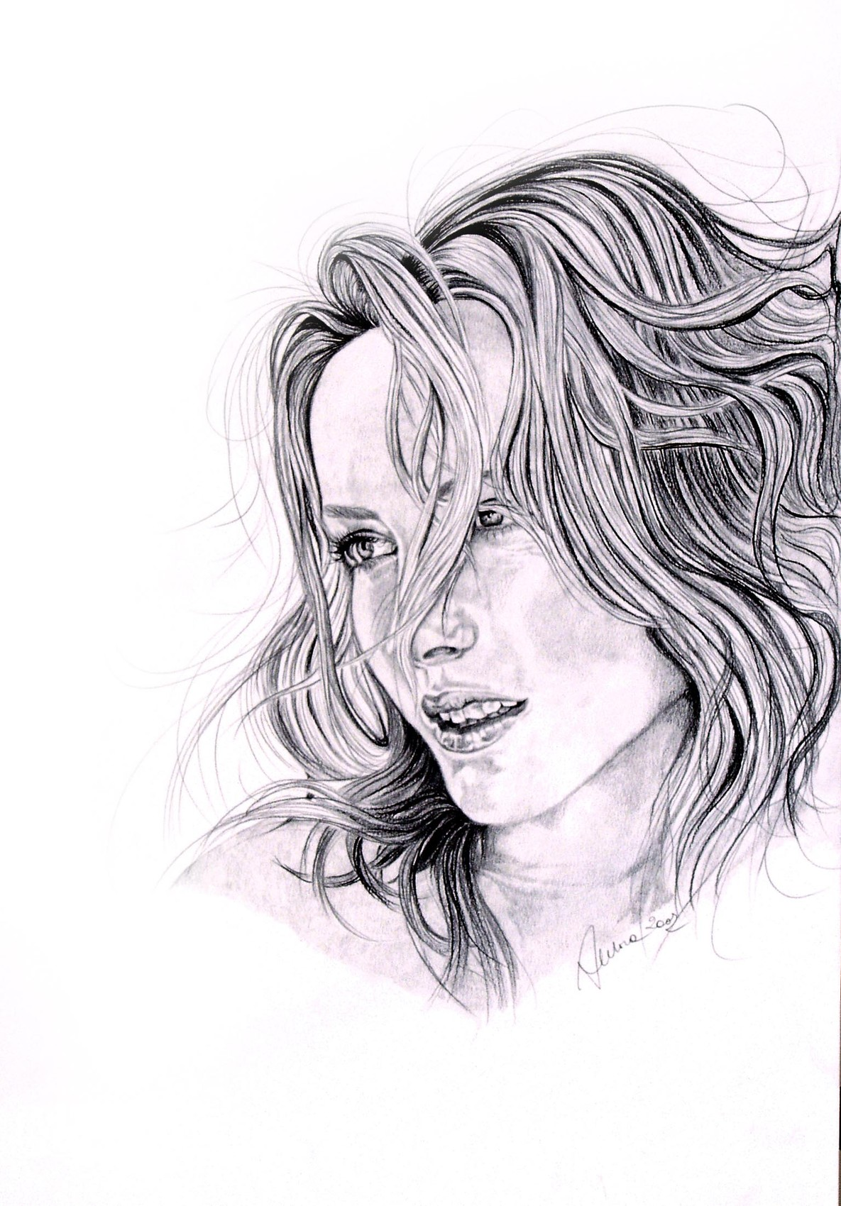 Peinture portrait d'une fille