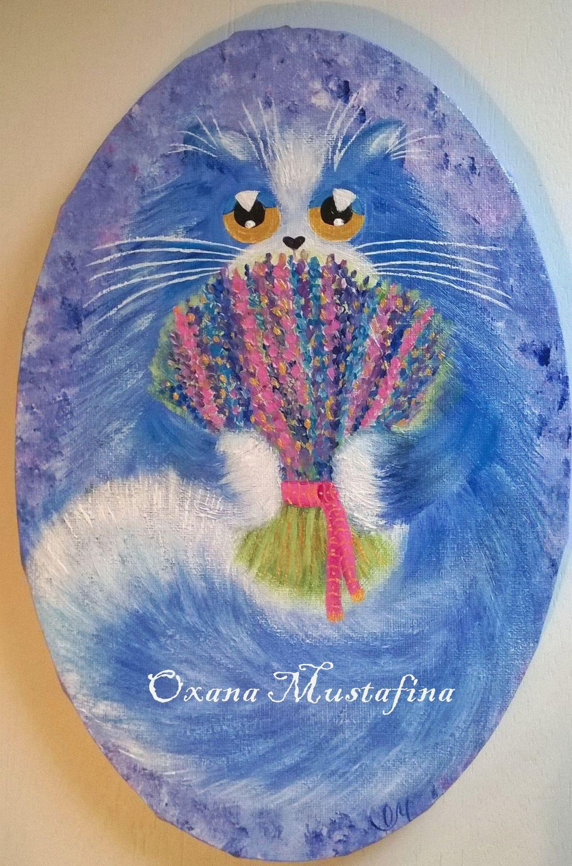 Peinture Peinture Acrylique Chat Mister Lavande