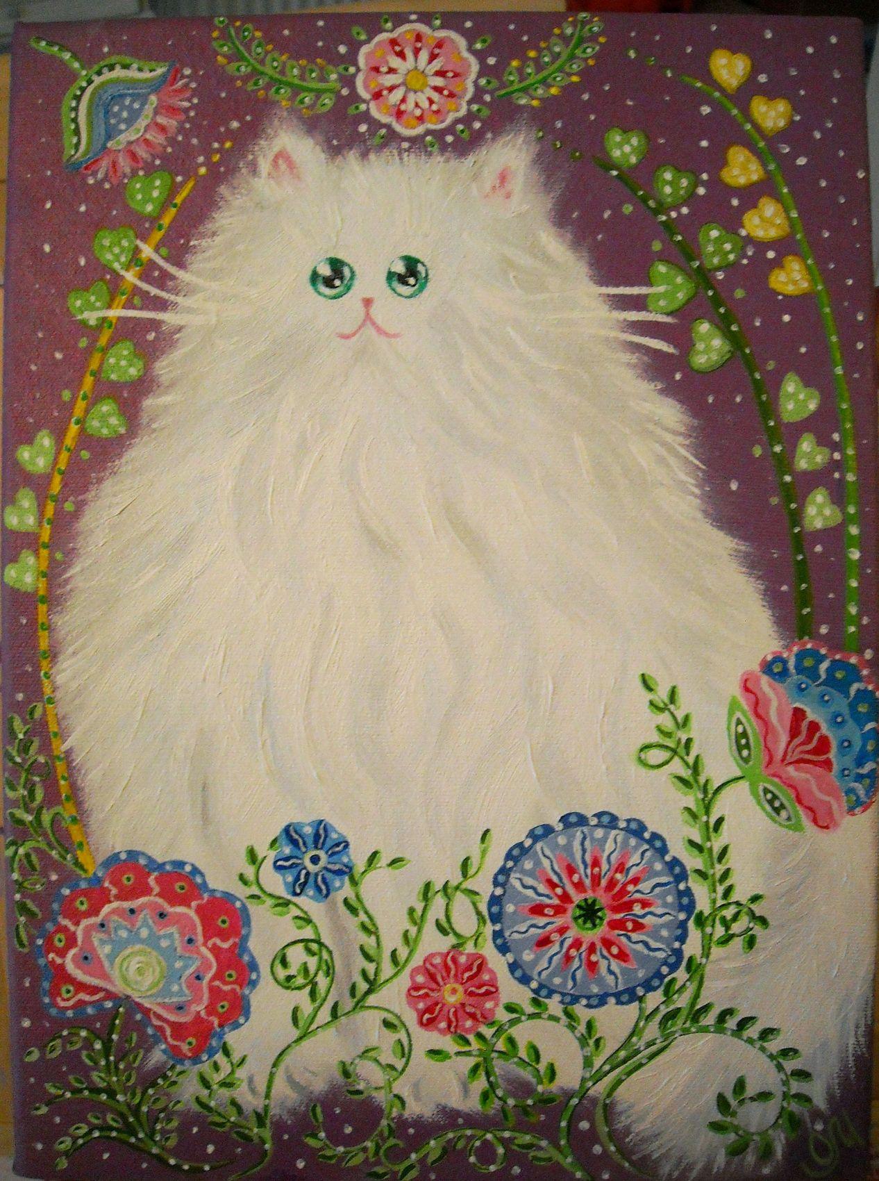Peinture peinture l 39 huile et acrylique chat blanc aux fleurs sur toile - Idee de peinture sur toile facile ...