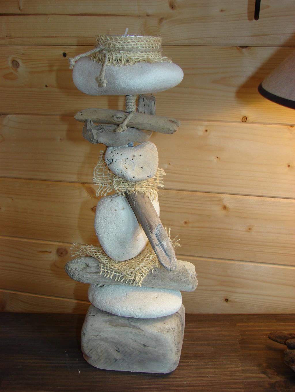 Autre bougeoir bois flott et galets for Ou acheter des galets decoratifs
