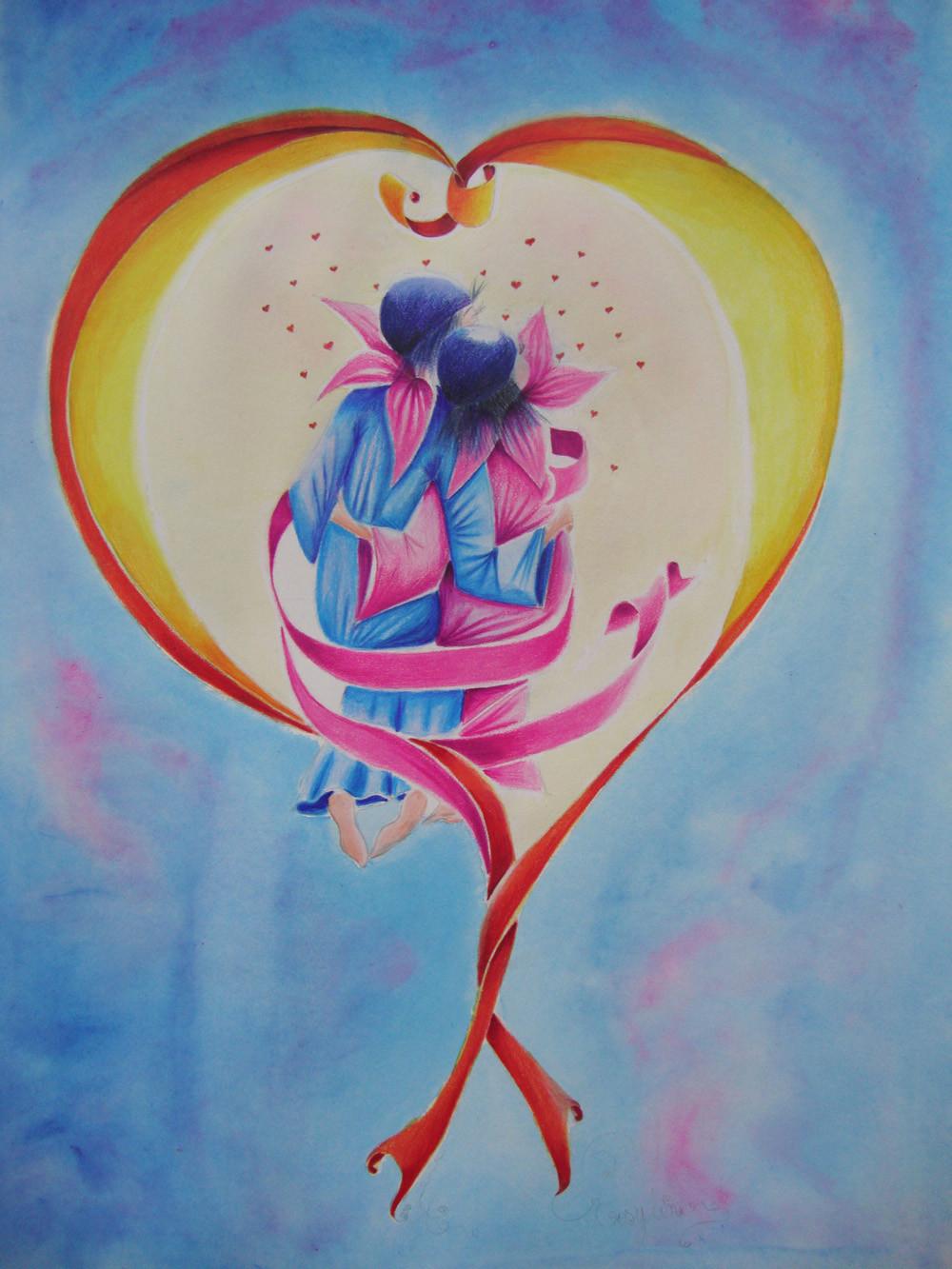 Peinture les fleurs du coeur au clair de lune - Fleur au coeur noir ...