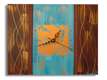 peinture tableau horloge moderne bleu marron dor contemporain abstrait. Black Bedroom Furniture Sets. Home Design Ideas