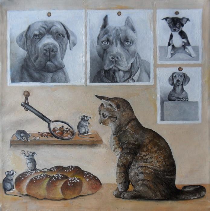 4  chiens 1 chat 1 brioche