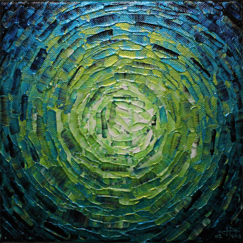 Peinture moderne : Petit éclat de lueur bleue verte iridescente.