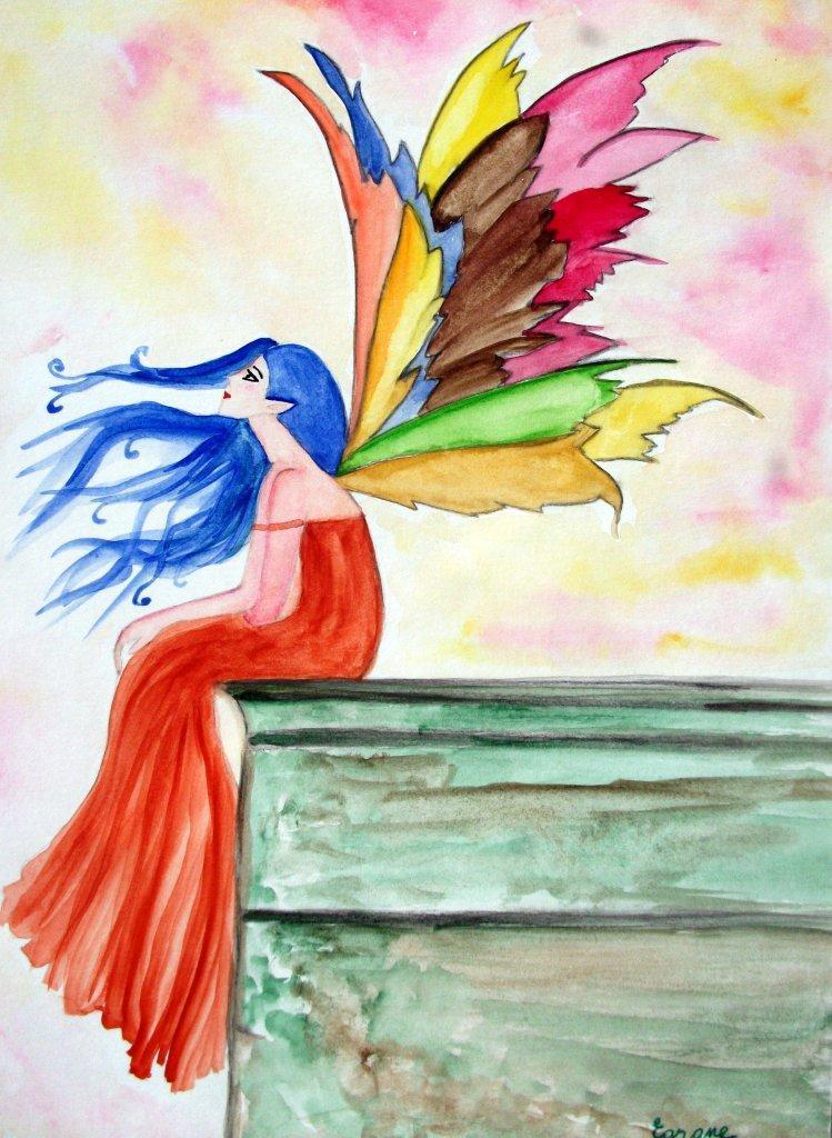 Fée papillon arc en ciel