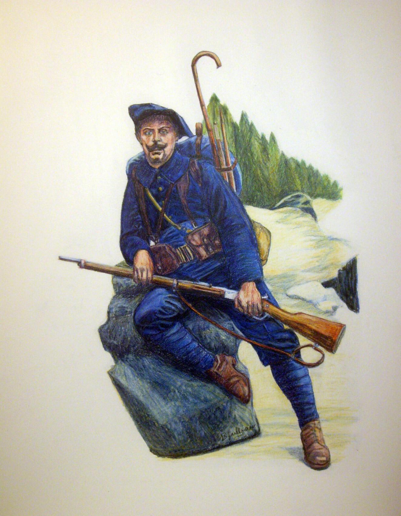 chasseur alpin au repos