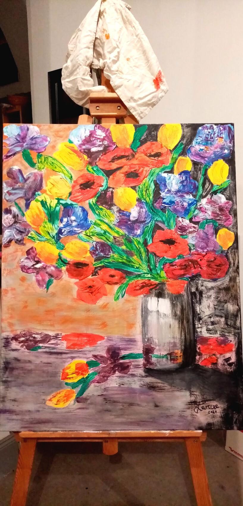 90cm x 70 cm Bouquet de fleurs