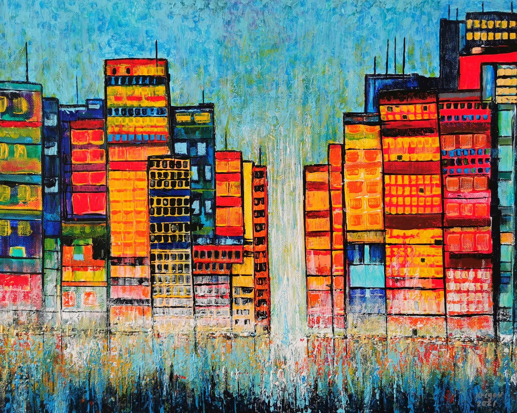 Coucher de soleil sur Tetris City