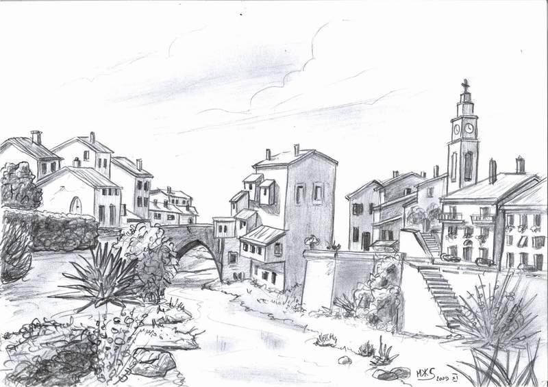 Dessin rivi re dans village - Village dessin ...
