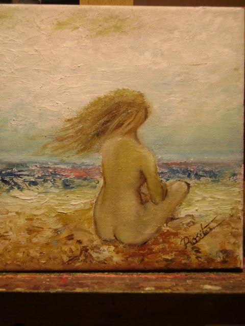 Peinture Jeune Fille Nue Sur La Plage Par Temps Orageu