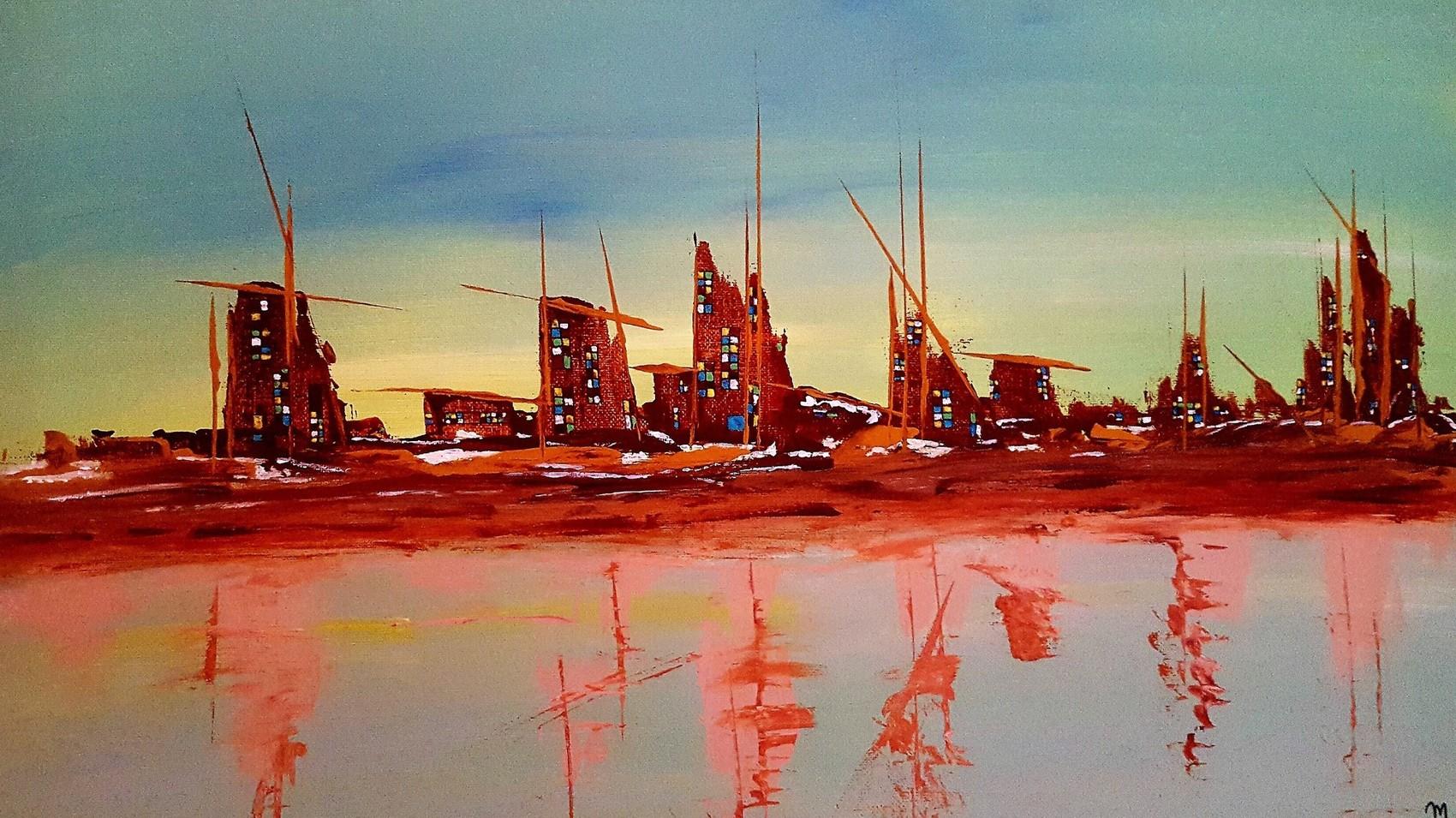 Peinture la ville aux fen tres multicolores for Fenetre 40x60