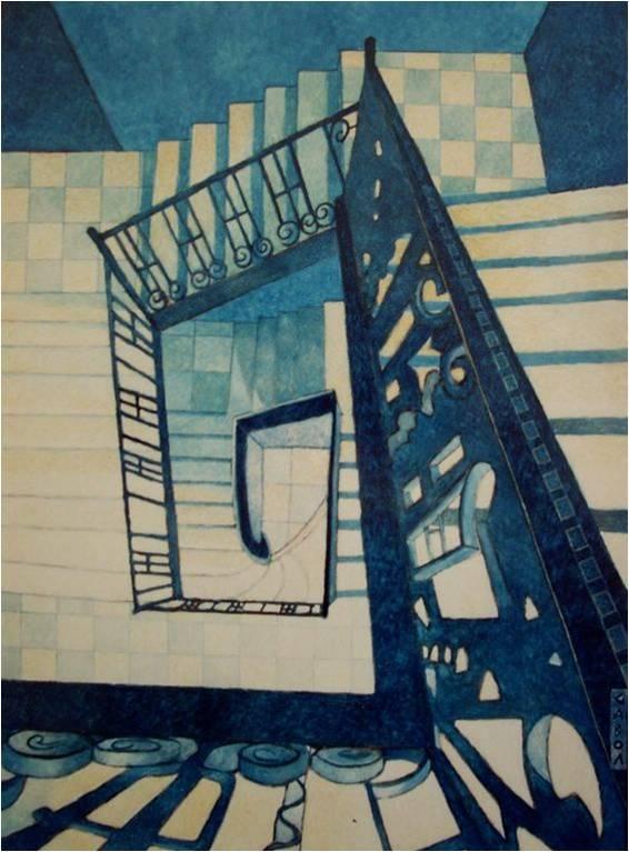 Peinture La Descente D 39 Escalier