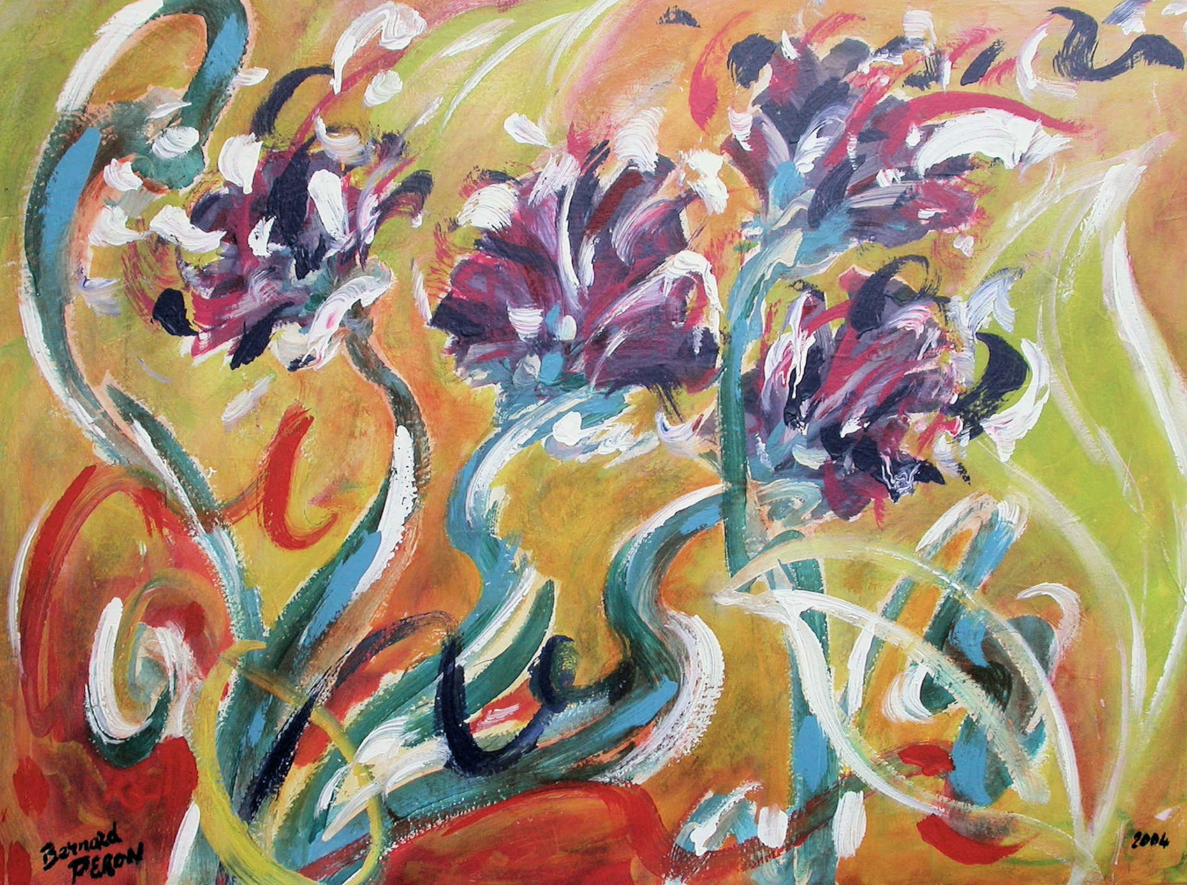 Peinture serpents de fleurs - Peinture effet serpent ...