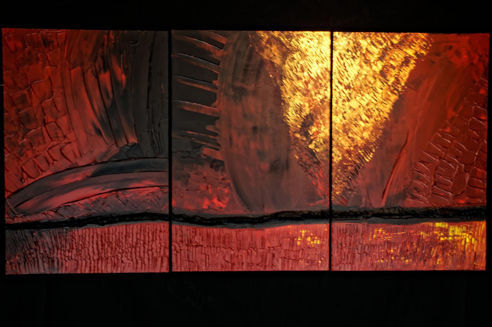 Peinture triptyque acrylique sur bois - Peinture acrylique triptyque ...