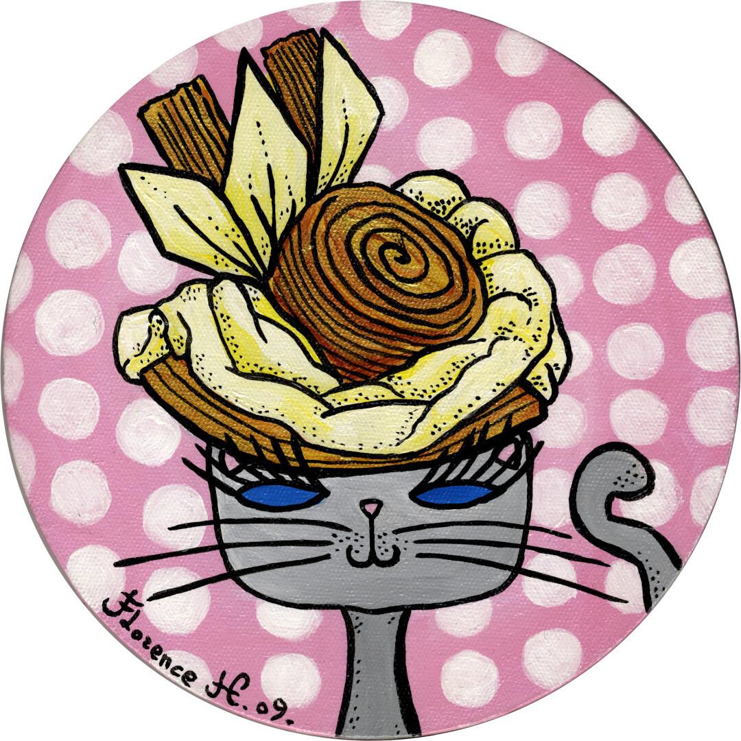 Portrait naïf de chat en chapeau chantilly