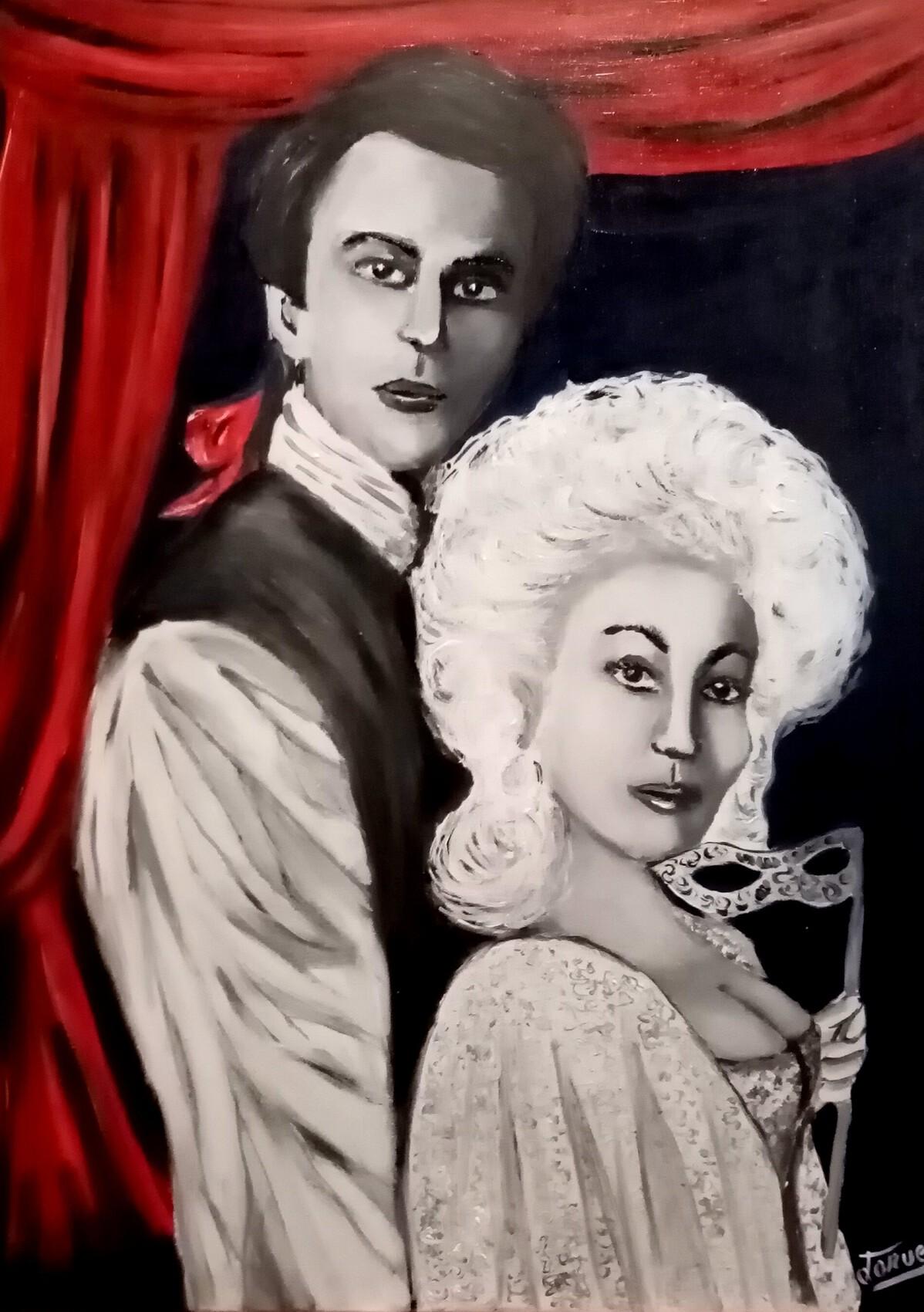 Peinture  70 x 55 cm Scène de théâtre