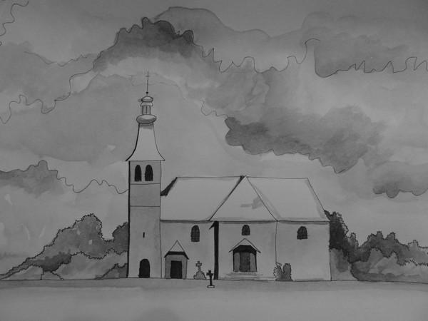 Dessin eglise du mont saxonnex - Eglise dessin ...