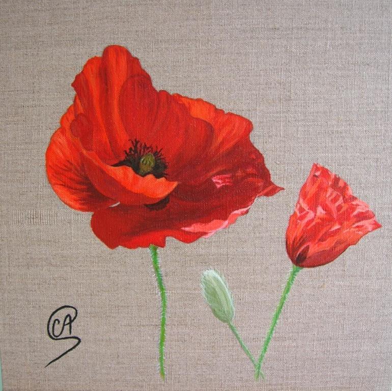 Peinture coquelicots fleurs l 39 acrylique for Tableau de coquelicot en peinture