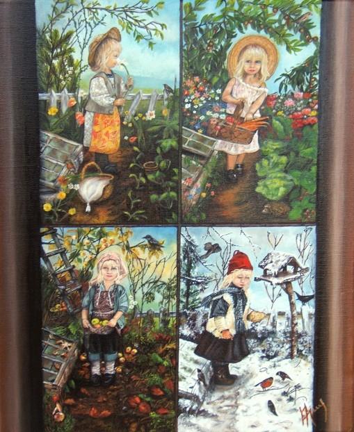 Peinture Les 4 Saisons Petite Fille Dans Son Jardin