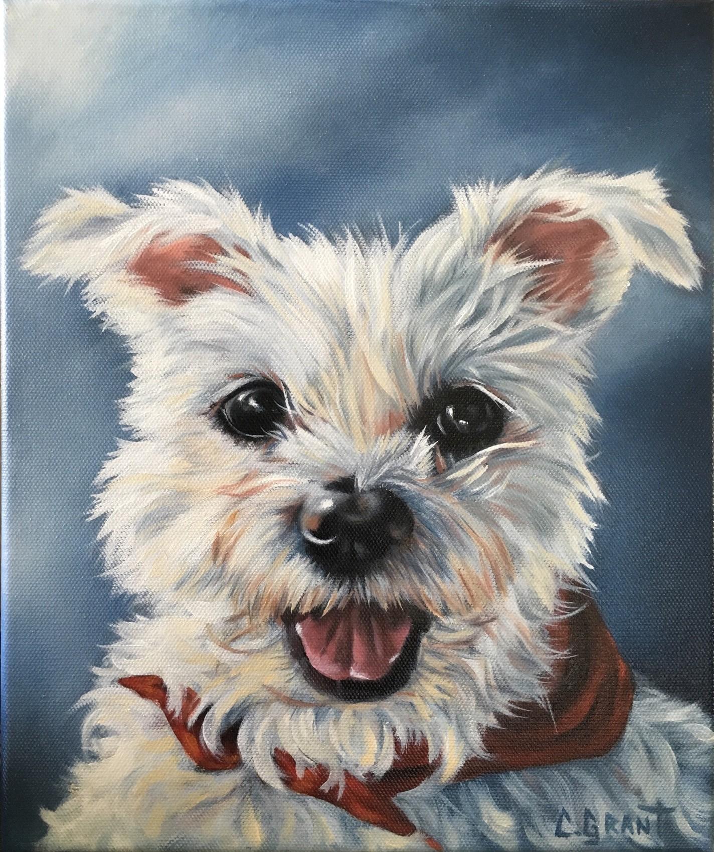 Chien Peint peinture chien peint à l'huile d'après une photo 10x12