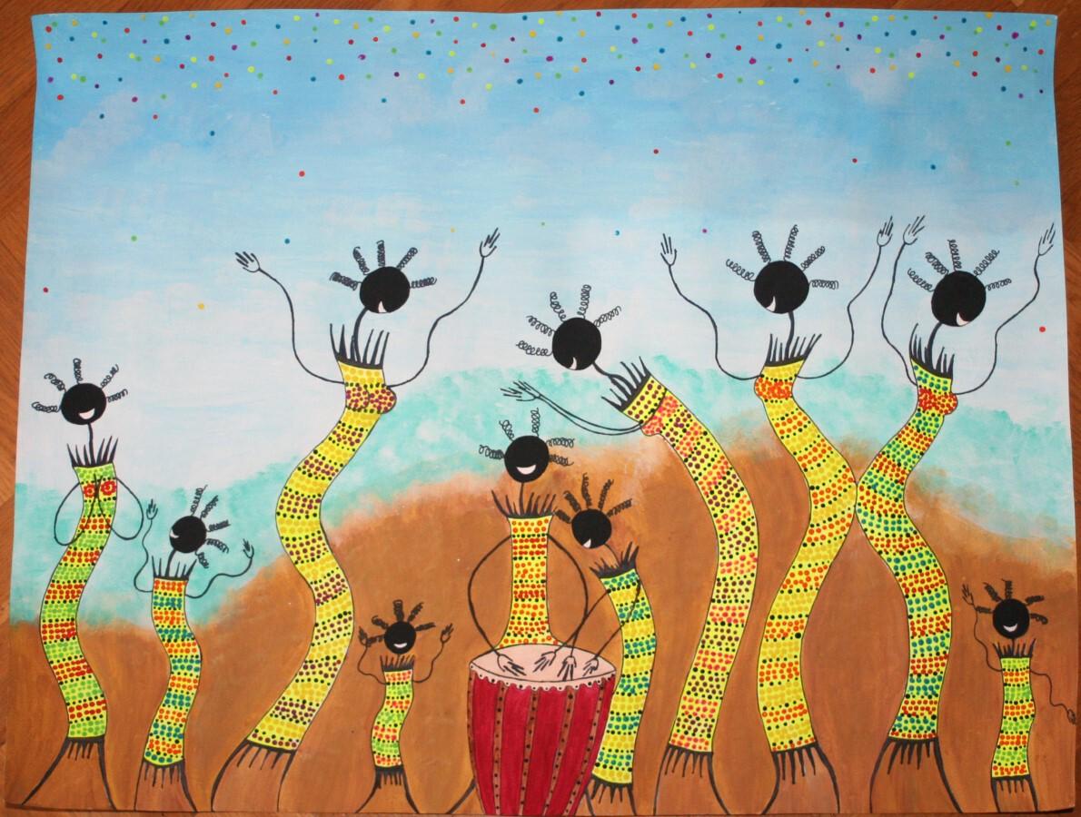 Peinture écharpes Afrique