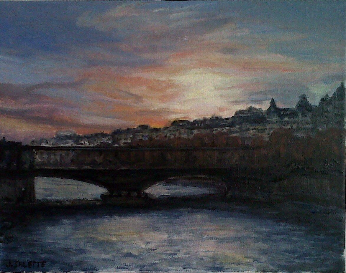 Peinture paris coucher de soleil sur le pont bir hakeim - Coucher de soleil sur paris ...