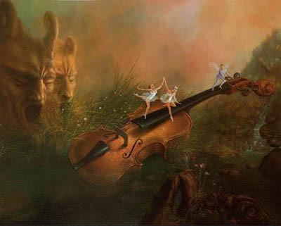 Le violon dans la rosée du matin